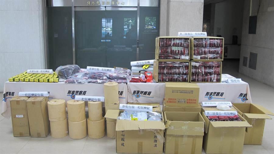 刑事局破獲毒品工廠,查獲36萬1000錠一粒眠。(胡欣男攝)