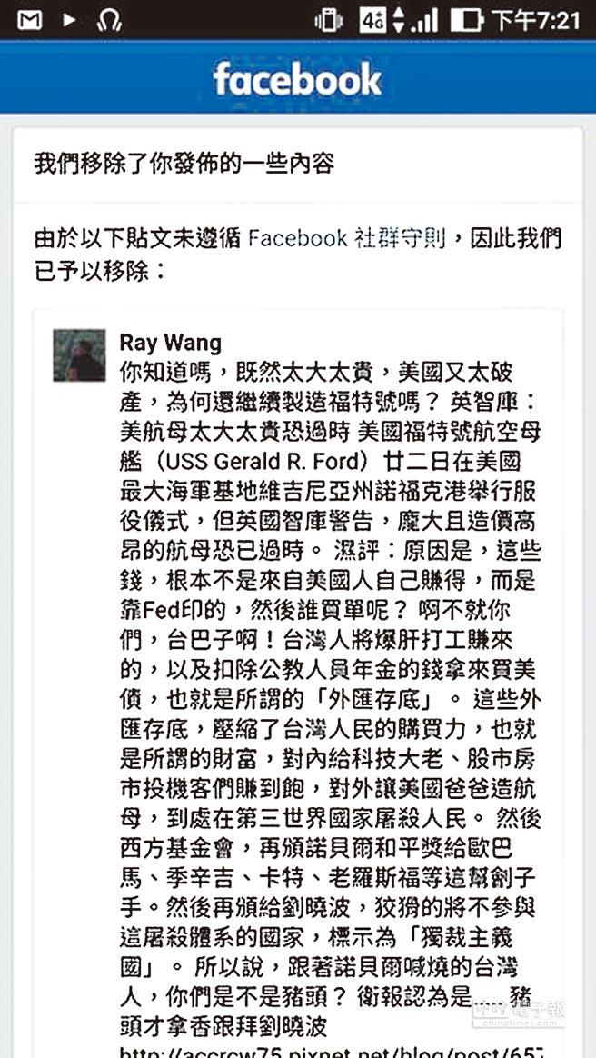 王大師批評台美匯率政策的文章,遭臉書以「違反Facebook社群守則」為由移除。(王大師提供)