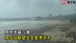 雙颱夾擊墾丁南灣!海灘上漂流木像「被炸過」一般
