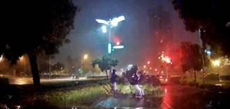颱風夜吹倒路樹 警淋濕搬移不喊累