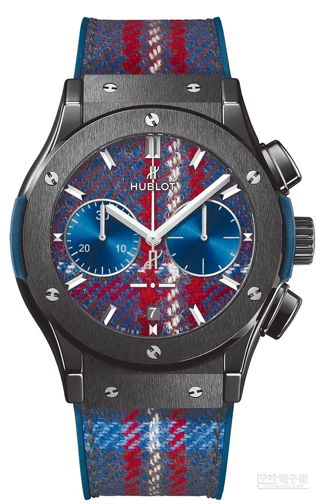 HUBLOT Classic fusion Italia Independent 陶瓷蘇格蘭格紋腕表,50萬1000元。(HUBLOT提供)
