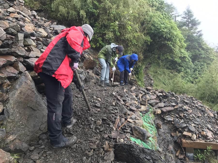 玉管處完成颱風期間受損的玉山步道指標4.7K及5.8K的坍方搶修工作,並宣布明天起恢復主群峰步道入園。(玉山國家公園管理處提供)