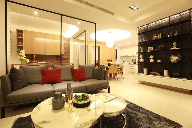 45坪住宅規劃3房,室內無虛坪浪費,得房率高。(圖/廖一德攝)
