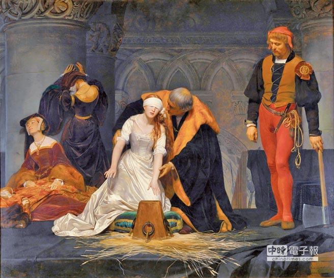 處決珍‧葛雷保羅‧德拉羅什作品1833年,倫敦國家美術館1554年,在王室權力鬥爭下成為女王的珍‧葛雷,僅僅在位9天就被褫奪王位,被瑪麗一世女王處決,年僅17歲。(時報文化出版)