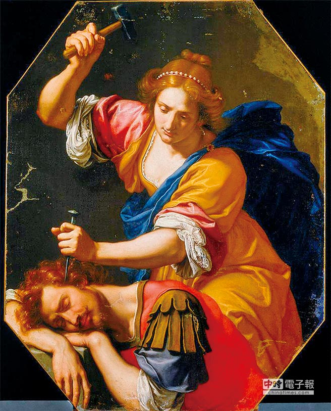 雅億與西西拉奧塔維奧‧萬尼尼作品1640年代上半葉迦南將軍西西拉躲到同是非猶太人的雅億家中,沒想到雅億因為受不了迦南人長期以來的壓榨,最後犯下這麼可怕的罪行。(時報文化提供)