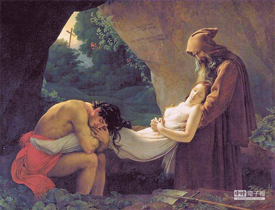 阿達拉的葬禮特里奧松作品1808年,巴黎羅浮宮根據夏多布里昂短篇小說《阿達拉》(Atala)繪製的作品。北美印地安男子夏克達斯與西班牙混血少女阿達拉相戀。但身為基督徒的阿達拉曾立下守貞誓言,在與夏克達斯的愛情之間掙扎,選擇了自殺。本作品的場景是夏克達斯與奧布里神父將自殺的阿達拉遺體,埋葬在洞窟的一幕。石壁上刻有「甫剛萌芽隨即枯萎」的文字。