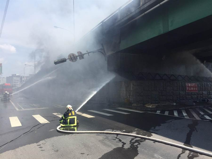 陸橋下資源回收廠大火,濃煙瀰漫。(蔡依珍翻攝)