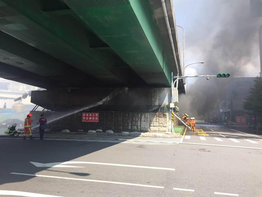 陸橋下資源回收廠火警現場。(蔡依珍翻攝)