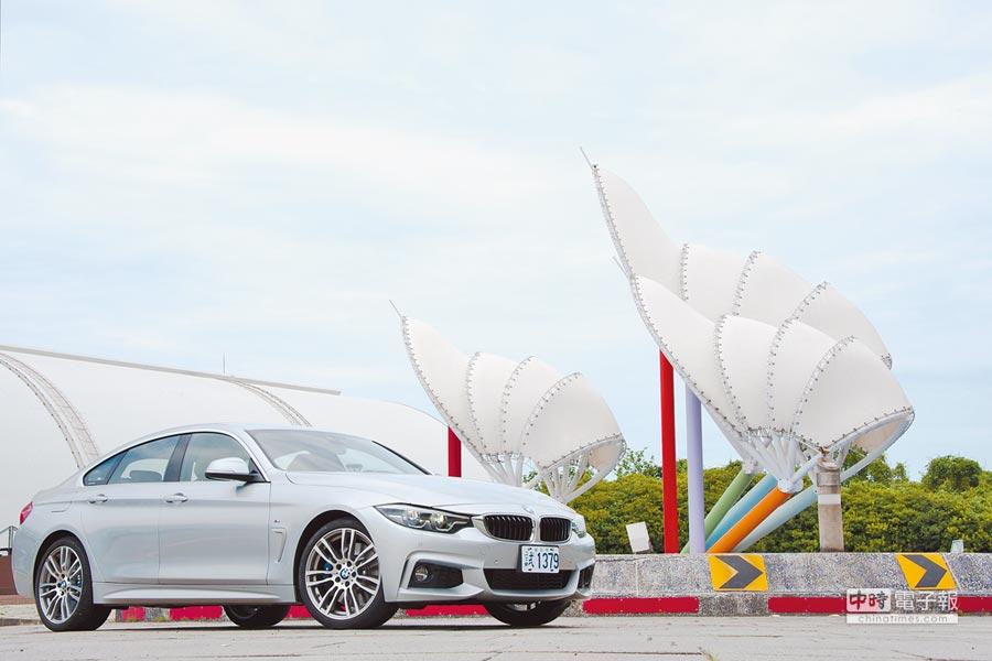 BMW 4系列雙門跑車、4系列Gran Coupe(見圖)及4系列敞篷跑車就像三胞胎,擁有相同家族血液,卻各有風格。(陳大任攝)