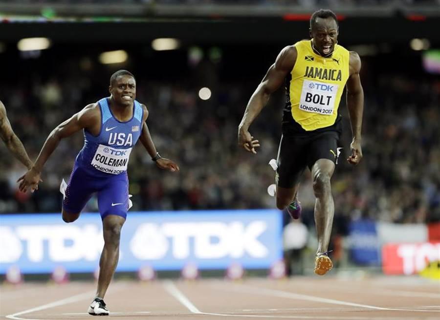 柯勒曼(左)在倫敦世錦賽男子百米奪下銀牌,波特(右)只拿銅牌。(美聯社)