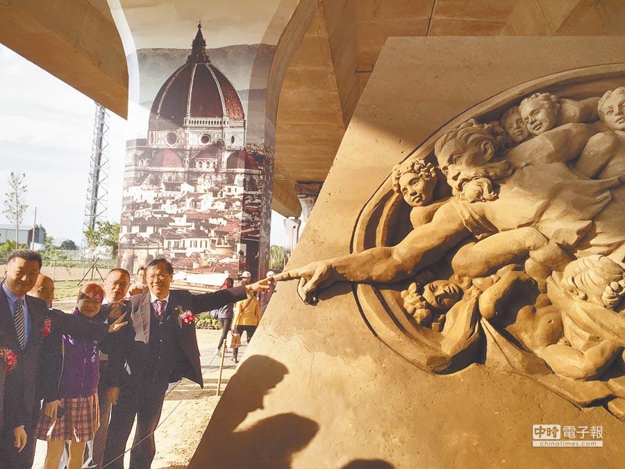 國道3號南投交流道下,已設置沙雕藝術園區。(廖志晃攝)