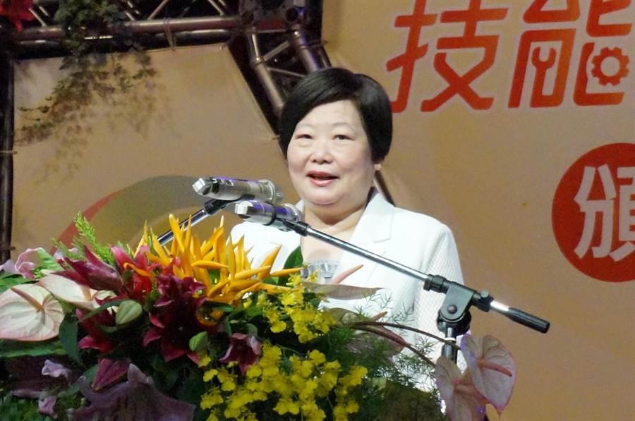 勞動部長林美珠希望勇奪金牌的選手參加國際競賽,站上世界舞台,為國爭光。(盧金足攝)