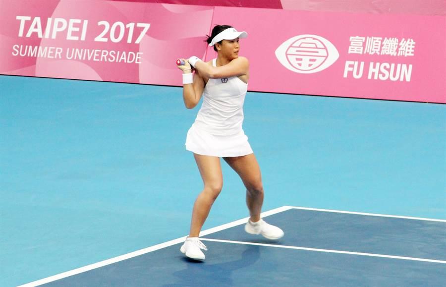 李亞軒網球女單挺進第3輪。(林宋以情攝)