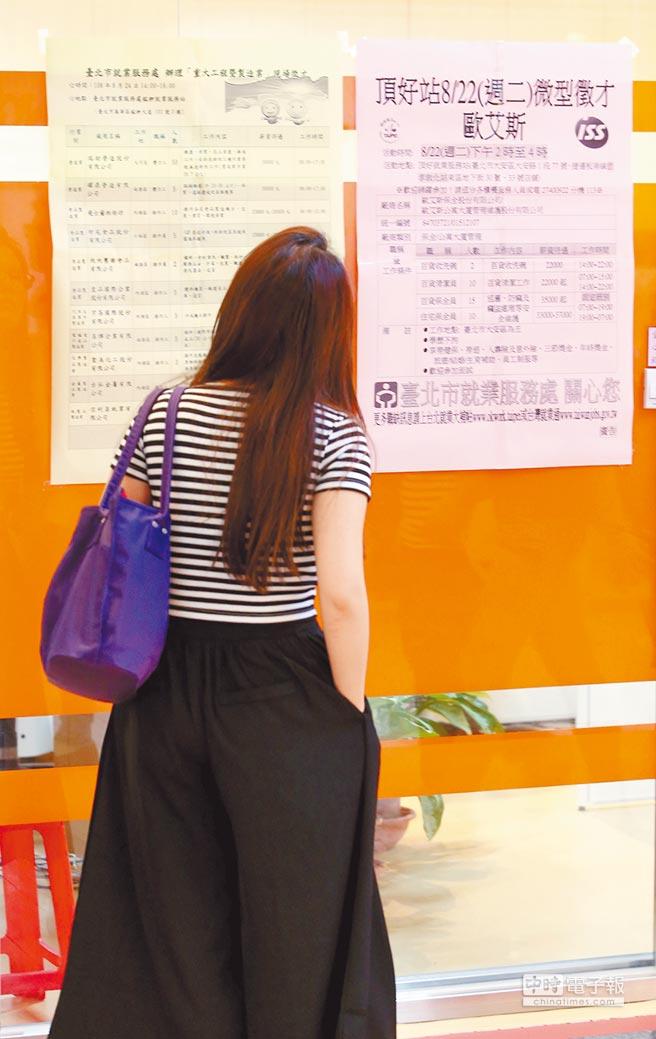 產學落差、高教政策及不願屈就等因素,讓找工作的時間更長,圖為民眾觀看職業介紹看板。(王英豪攝)