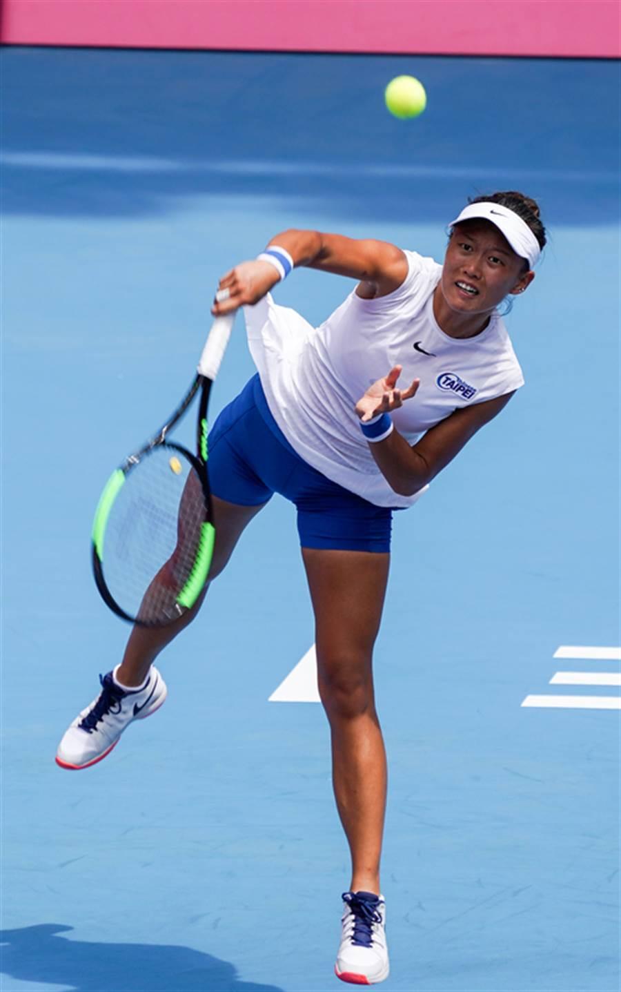 中華隊網球好手張凱貞23日挺進16強。(中央社)