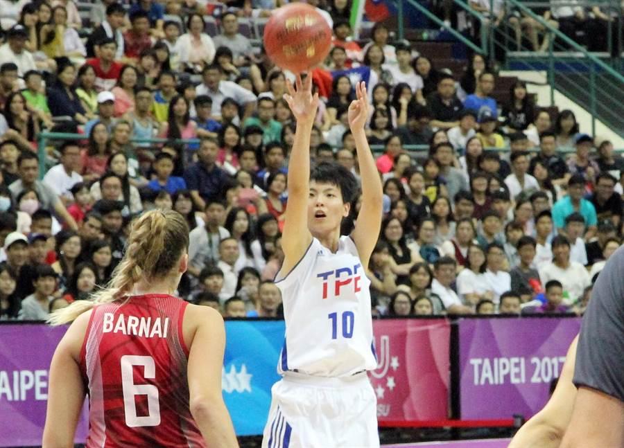 中華女籃韓雅恩此役替補上陣攻下9分、4籃板。(林宋以情攝)
