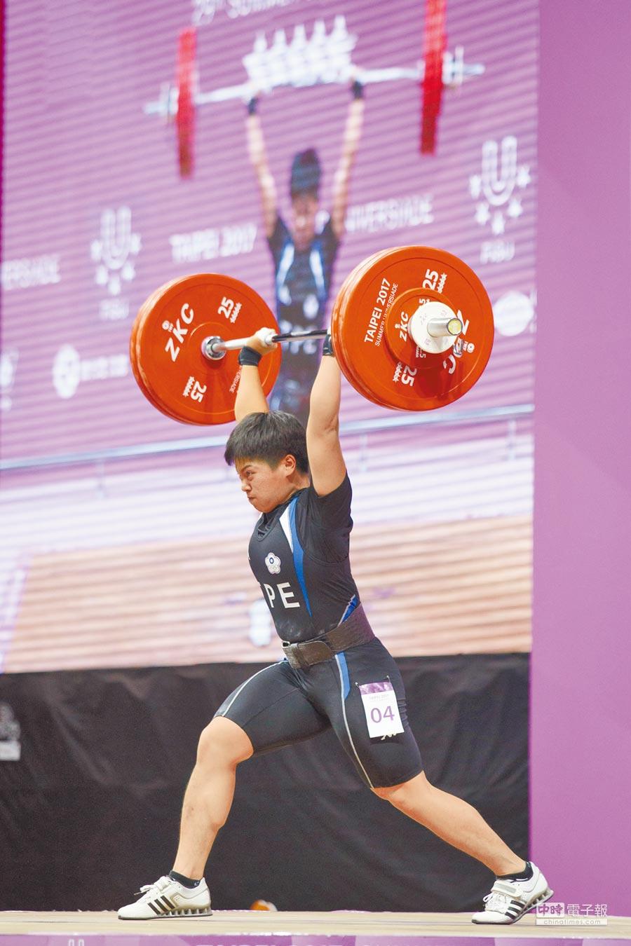 女子舉重項目69公斤級中華隊選手洪萬庭23日以抓舉101公斤、挺舉126公斤,總和227公斤拿下金牌。(本報系記者杜宜諳攝)