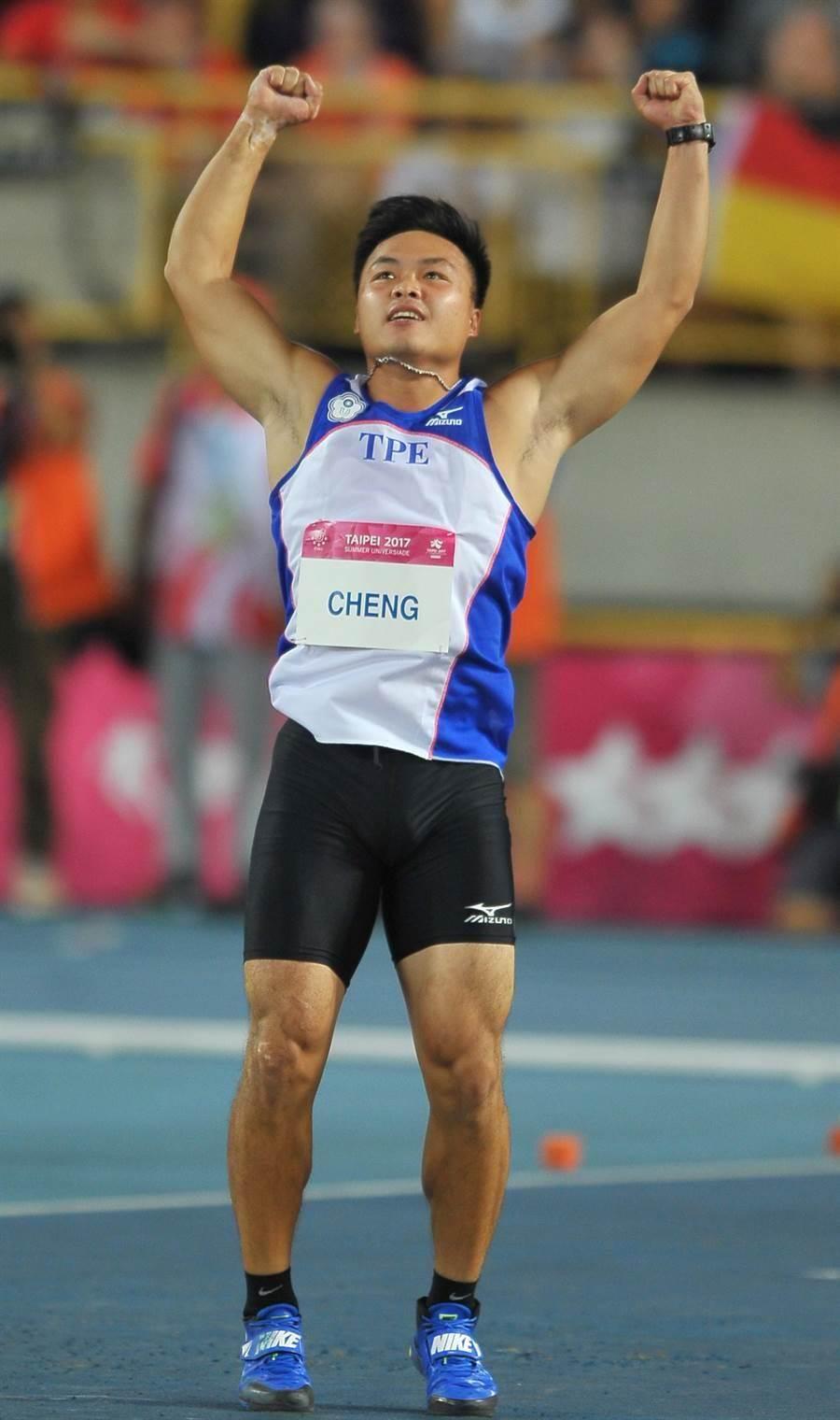 世大運男子標槍由鄭兆村拿到金牌。(季志翔攝)