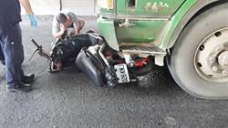 騎士撞上闖黃燈砂石車輾斃 慘遭拖行20公尺