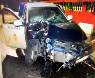 吃燒酒雞拒攔檢 害警車被撞爛
