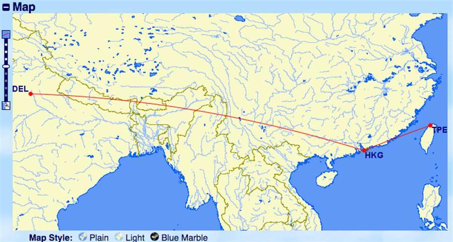 從台灣(桃園國際機場)飛到印度英迪拉·甘地國際機場的路線。(圖/翻攝www.gcmap.com)