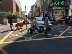 嘉義市警局後方自小客車與機車擦撞 婦女受傷送醫