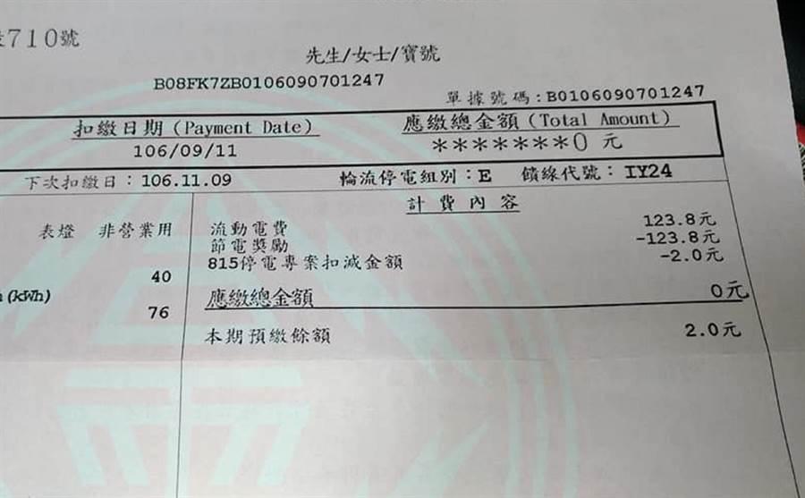 彰化縣環保聯盟總幹事施月英在臉書上分享聯盟辦公室收到的「0元」電費帳單。鐘武達翻攝。