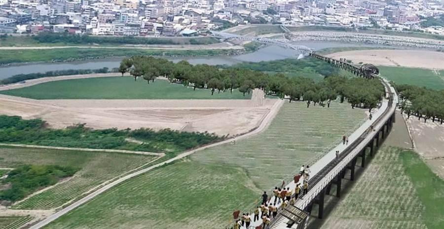 建築師廖偉立(中)設計《現地鐵道橋遺址博物館》案,可讓全國最長糖鐵復興鐵橋重生。(許素惠攝)