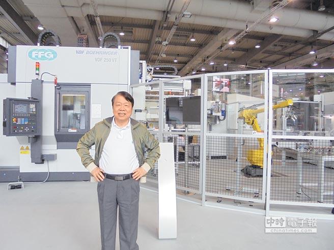 友嘉集團總裁朱志洋展現旺盛企圖心,今年包下一整個館參加兩年一度歐洲工具機展。圖文/沈美幸