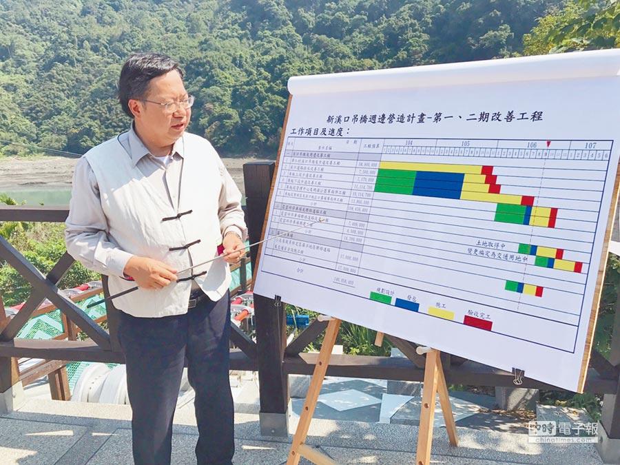 桃園市長鄭文燦19日視察復興區新溪口吊橋,了解周遭設施建設進度。(賴佑維攝)