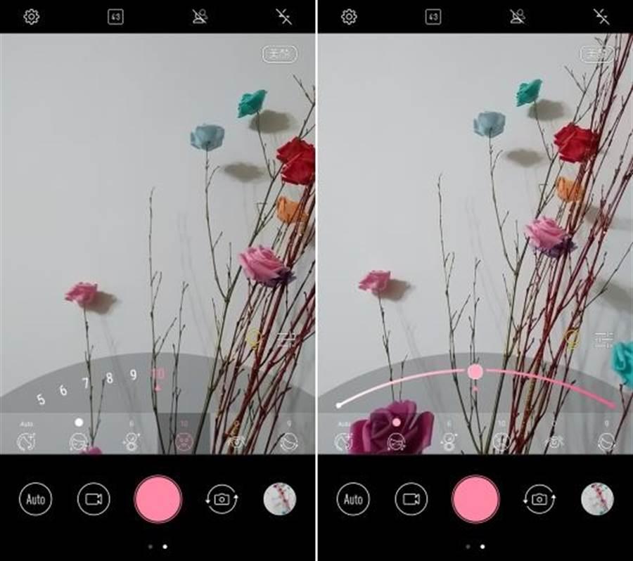 ZF4 Selfie Pro前鏡頭美顏模式螢幕截圖。切換到美顏模式的時候,快門會變成粉紅色,很好辨識。(圖/螢幕截圖)