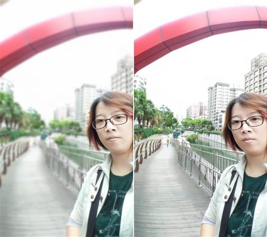 ZF4 Selfie Pro前鏡頭實拍(使用人像景深功能(左)未使用的對比)。可以看見使用人像景深確實對背景有進行模糊處理,但是人像身體的邊緣,計算的不是很準確。這一點很可惜。(圖/黃慧雯攝)