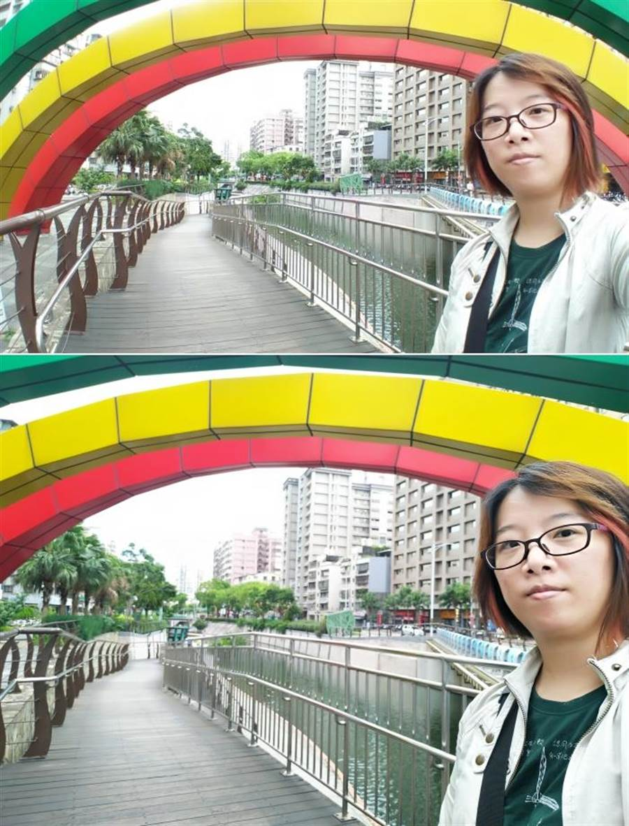 ZF4 Selfie Pro前鏡頭實拍(多人群拍視野(上)對比一人自拍視野),120度廣角鏡頭的視野(上)大了很多。(圖/黃慧雯攝)