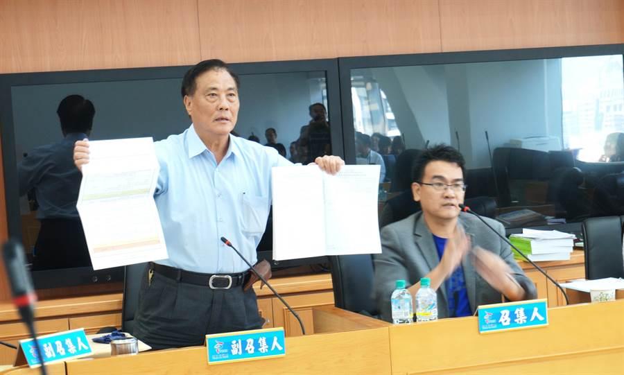 國民黨市議員楊正中(左)22日抨擊市府追加減5億花博預算,竟然只有1張紙,要求拿出詳細計畫,不能幫市府背書。(盧金足攝)