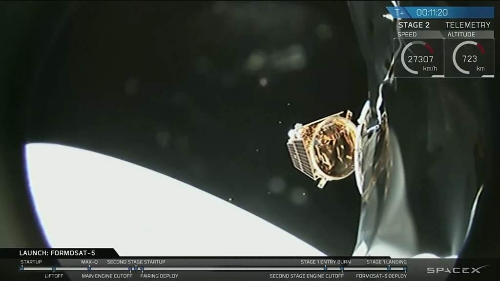 福衛五號8月25日抵達外太空後,與火箭主體分離,航向軌道。(圖/國研院太空中心)