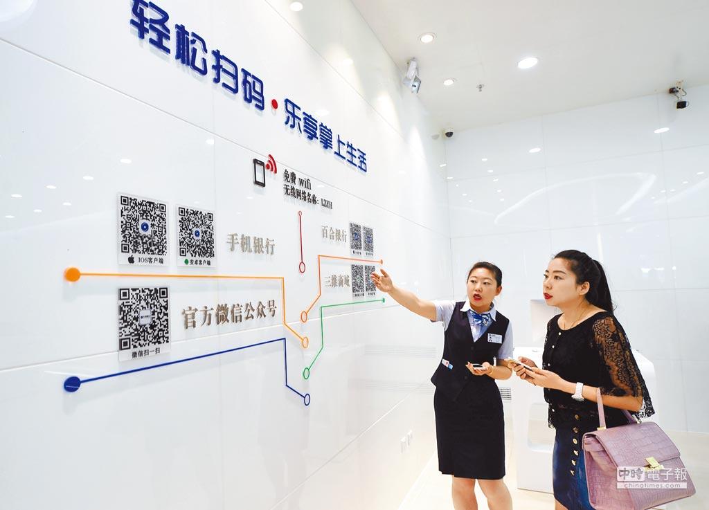 北京一位銀行工作人員向顧客介紹投資理財等多種金融業務。(新華社資料照片)