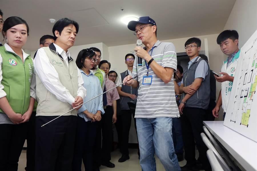 行政院長賴清德今天上午前往林口世大運選手村社會住宅視察。(譚宇哲攝)