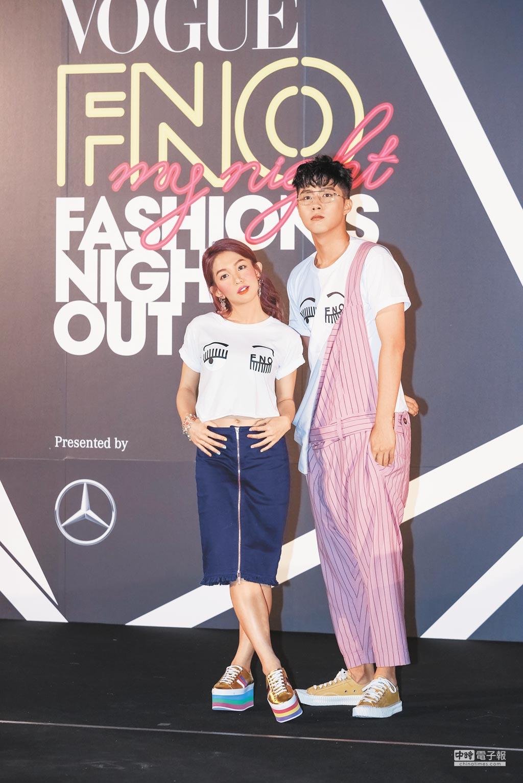郭書瑤(左)、蔡凡熙昨精心打扮出席時尚大秀。(蘇蔓攝)