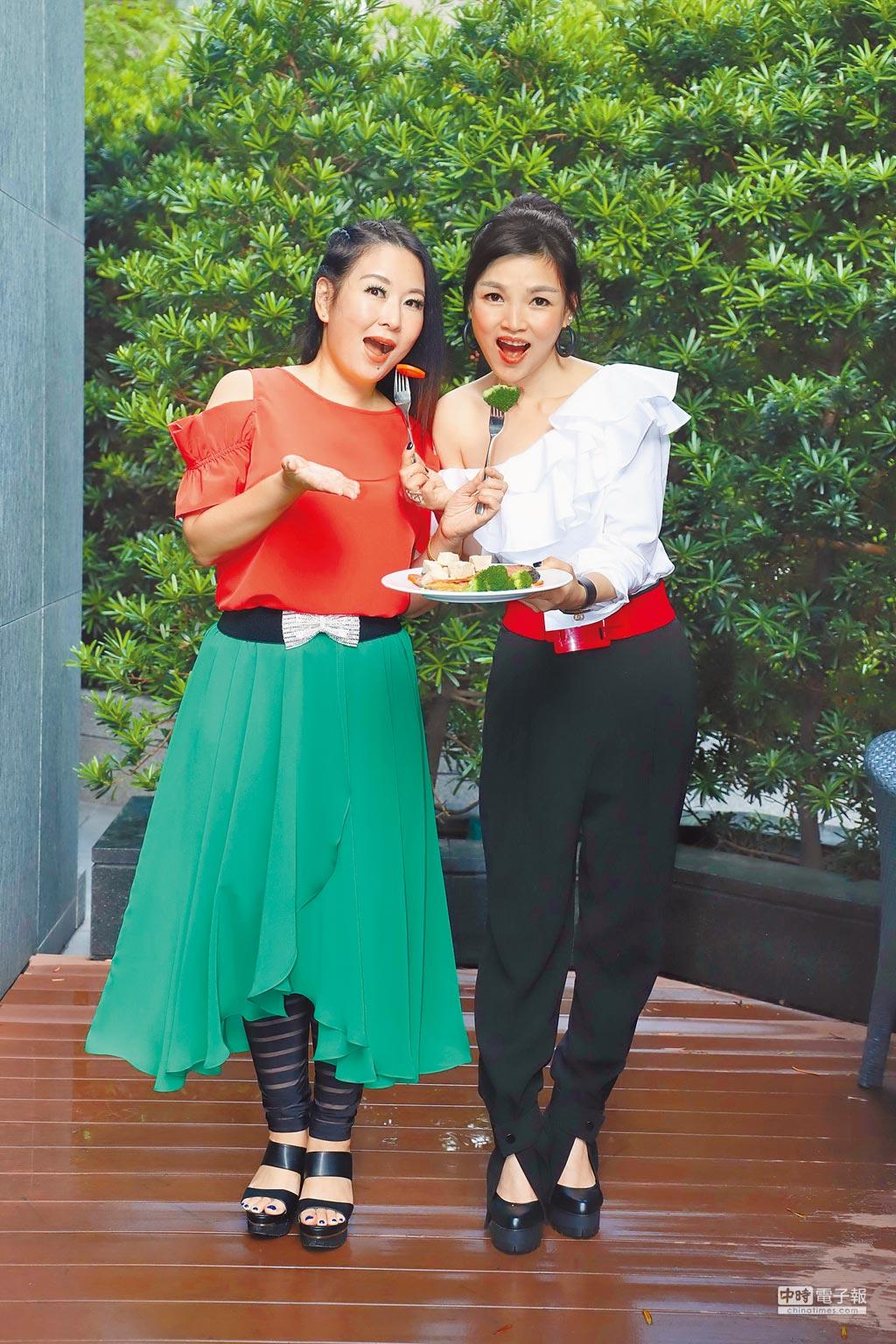 張秀卿(左)邀請談詩玲享用特製減肥餐。