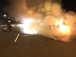 宜蘭凌晨車禍釀火燒車   2人受傷