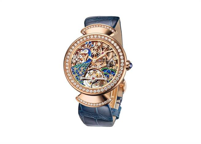 BVLGARI DIVAS' DREAM 孔雀鏤空陀飛輪腕錶。(圖/ 寶格麗 提供)