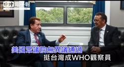 美國眾議院無異議通過 挺台灣成WHO觀察員