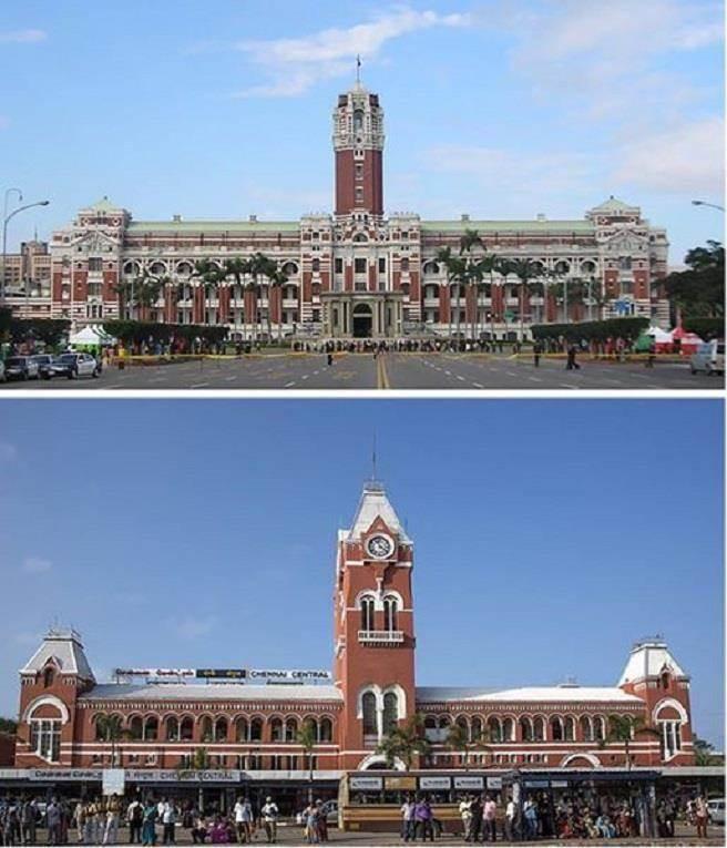 台灣總統府(上)與印度清奈中央車站(下)外型極為相似。(圖片取自史達仁臉書)
