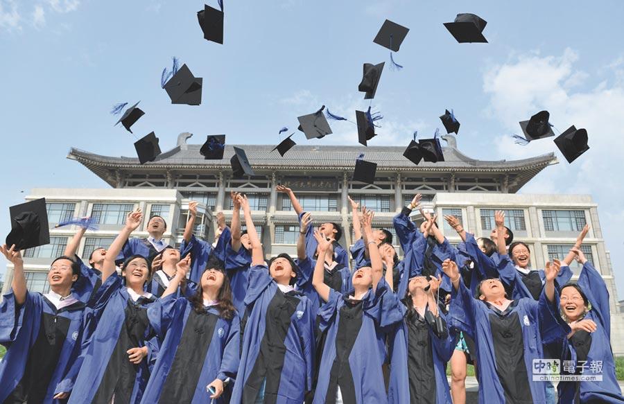 大陸高等教育學生人數全球第一。圖為北京大學新聞與傳播學院畢業生拋學士帽,慶祝畢業。(新華社)