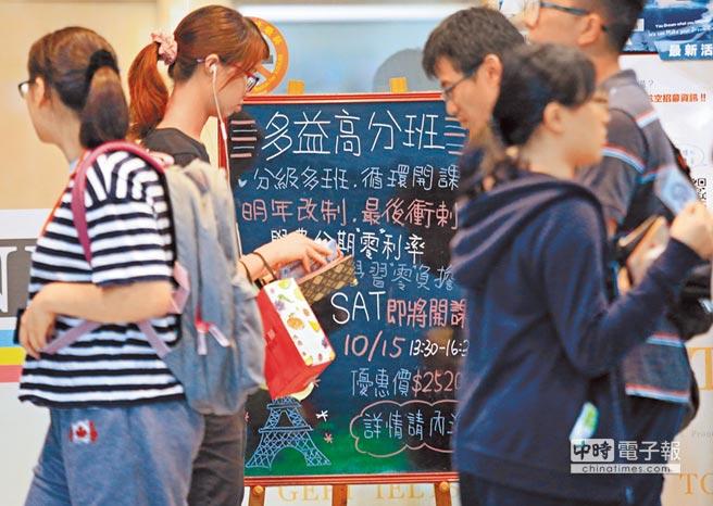 美國教育測驗服務社(ETS)10日公布2016年多益測驗全球考生資料統計報告,台灣學生平均分數大幅落後南韓、大陸,圖為民眾經過一間語言補習班的招生看板。(張鎧乙攝)