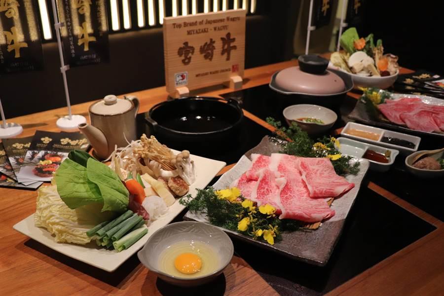 黑毛屋「A5宮崎牛壽喜燒套餐」,即日起至11月19日止,優惠價1580元/客(和牛150g)。(徐力剛攝)