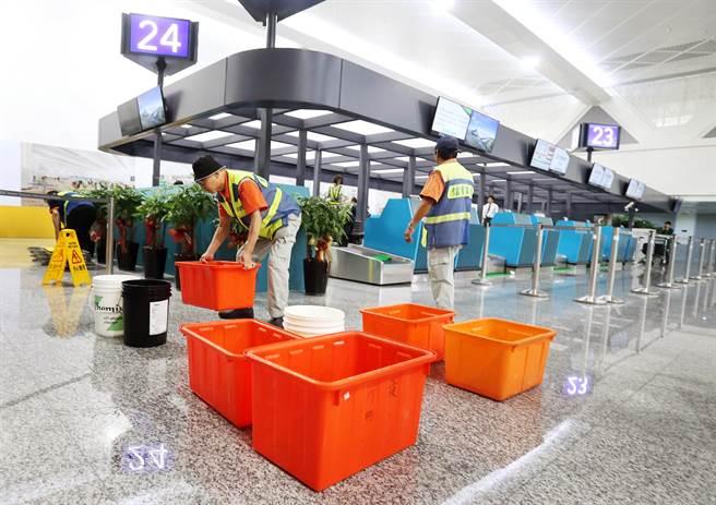 桃機二航廈13日發生漏水,工作人員忙著用水桶接水。(資料照,范揚光攝)