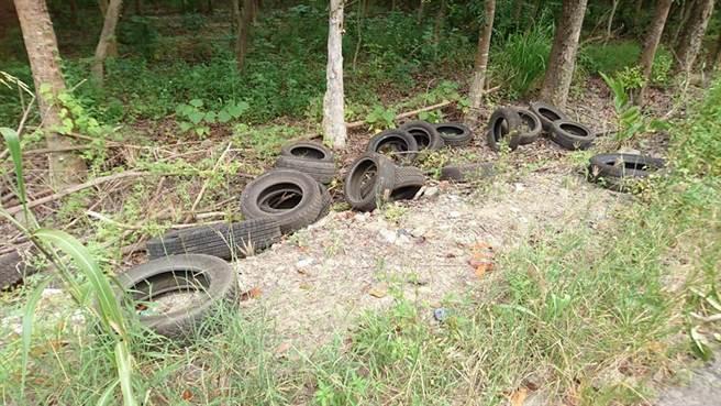 燕巢義大醫院前台糖農路兩旁,遭人棄置數百個大小不一廢輪胎。(郭韋綺翻攝)