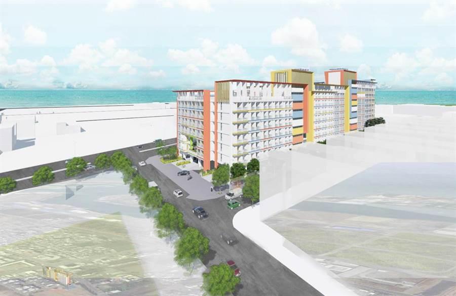 台中市府將在梧棲區三民段興建的社會住宅外觀模擬圖。(圖/台中市府提供)