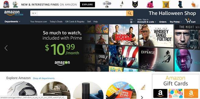 Amazon官方網站首頁。(圖/翻攝Amazon官網)